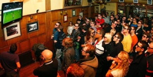 Watching football in the pub. Sunglasses optional