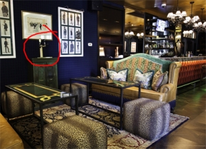 The plush bar in The Living Room with the SELF-POUR DRAFT BEER TAPS discreetly marked