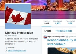 The Twitter account of Dignitas Immigration