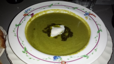 Snap pea soup with creme fraiche